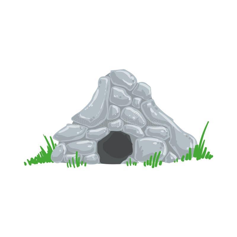 Homem primitivo da casa do troglodita da caverna da Idade da Pedra feito fora de Grey Rocks Living Place ilustração royalty free