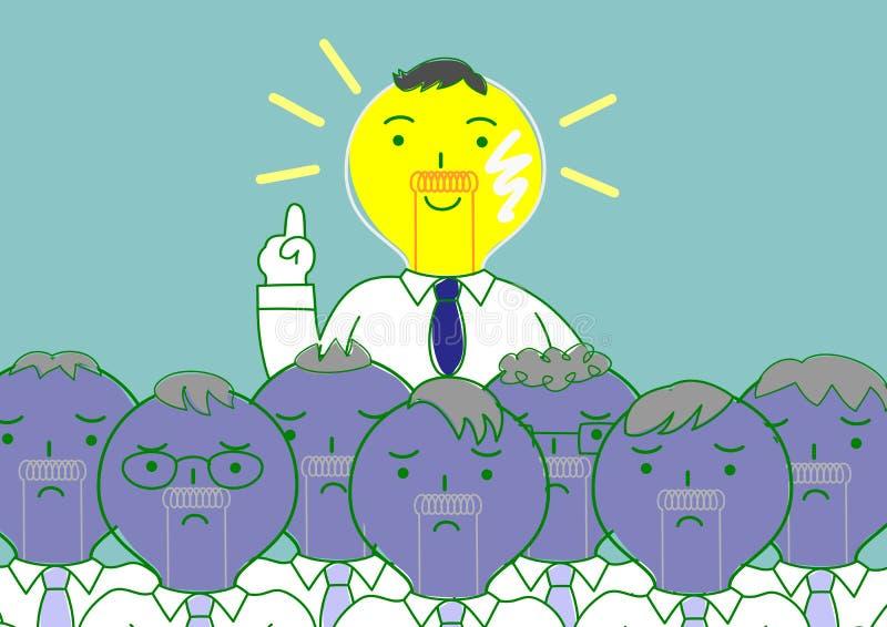 Homem principal do bulbo que encontra a ideia entre outros ilustração stock