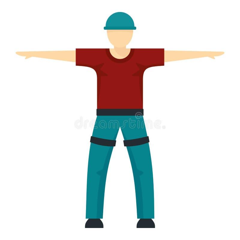 Homem pronto para ícone de linha zip, estilo plano ilustração royalty free