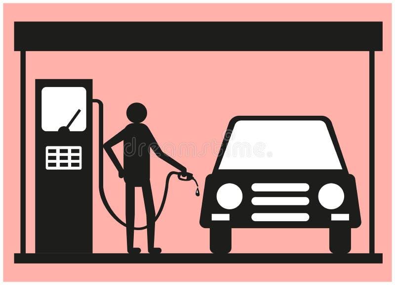 Homem que abastece um carro em um posto de gasolina ilustração do vetor