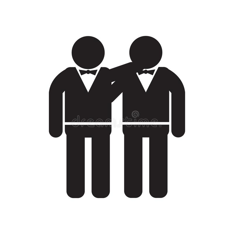Homem que abraça o sinal e o símbolo do vetor do ícone isolados no fundo branco, homem que abraça o conceito do logotipo ilustração royalty free