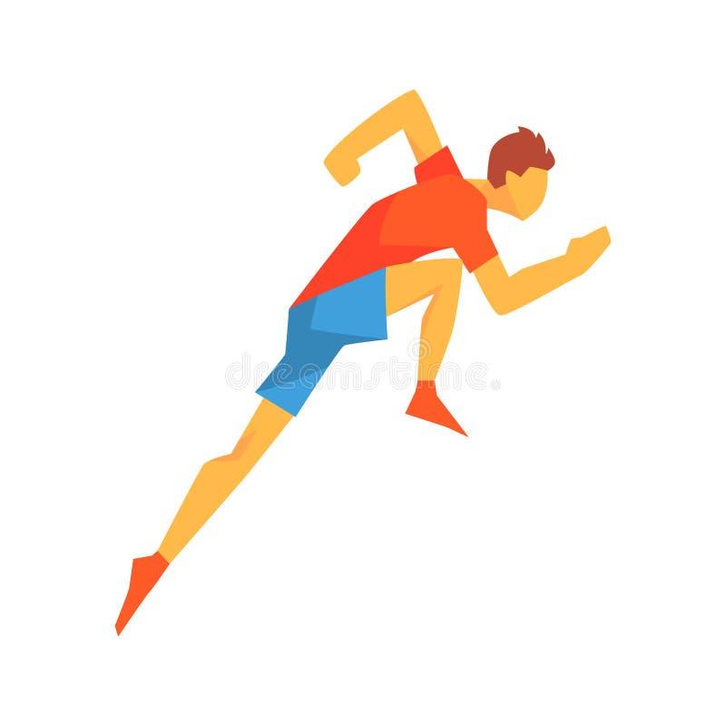 Homem que acelera no começo da raça, desportista masculino que corre a trilha na parte superior vermelha e curto azul em competir ilustração stock