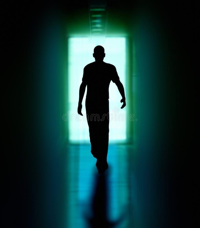 Homem que anda à porta ilustração stock