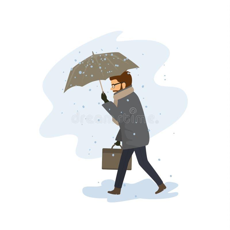 Homem que anda com o guarda-chuva durante a queda da neve, blizzard ilustração do vetor
