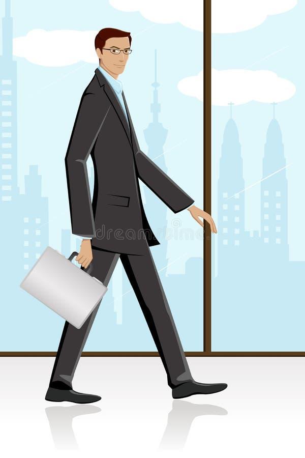 Homem que anda com pasta ilustração do vetor