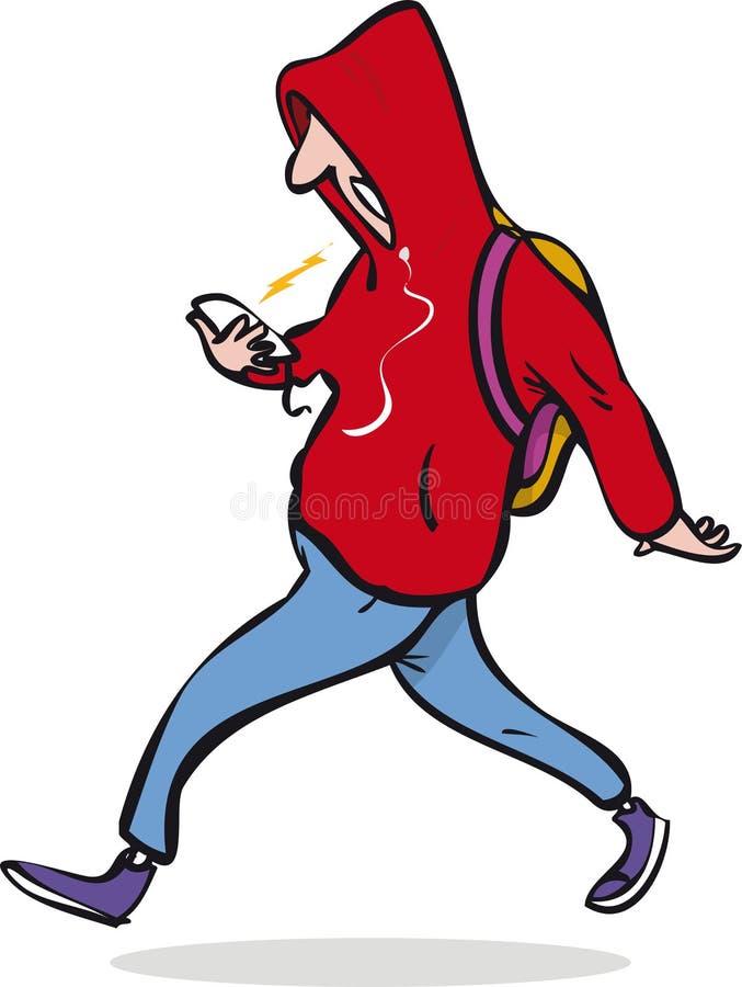 Homem que anda com smartphone ilustração do vetor