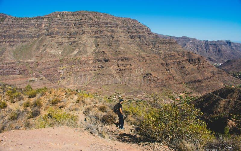 Homem que anda e que aprecia na montanha fotografia de stock