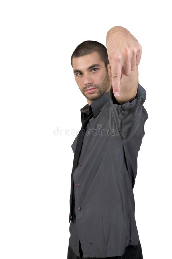 Homem que aponta para baixo fotografia de stock