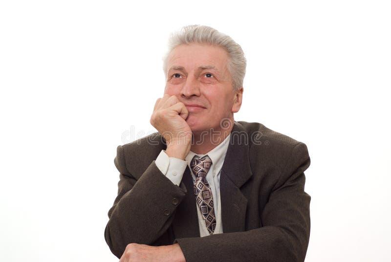 homem que aponta para cima no branco imagem de stock royalty free