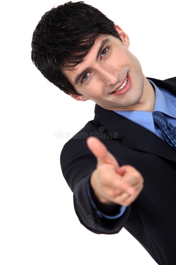 Homem que aponta para a frente fotos de stock