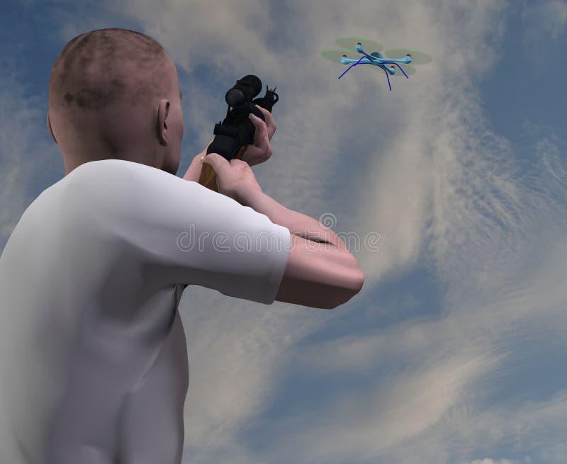 Homem que aponta uma arma em um zangão ilustração do vetor