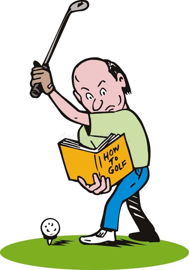 Homem que aprende jogar o golfe ilustração royalty free