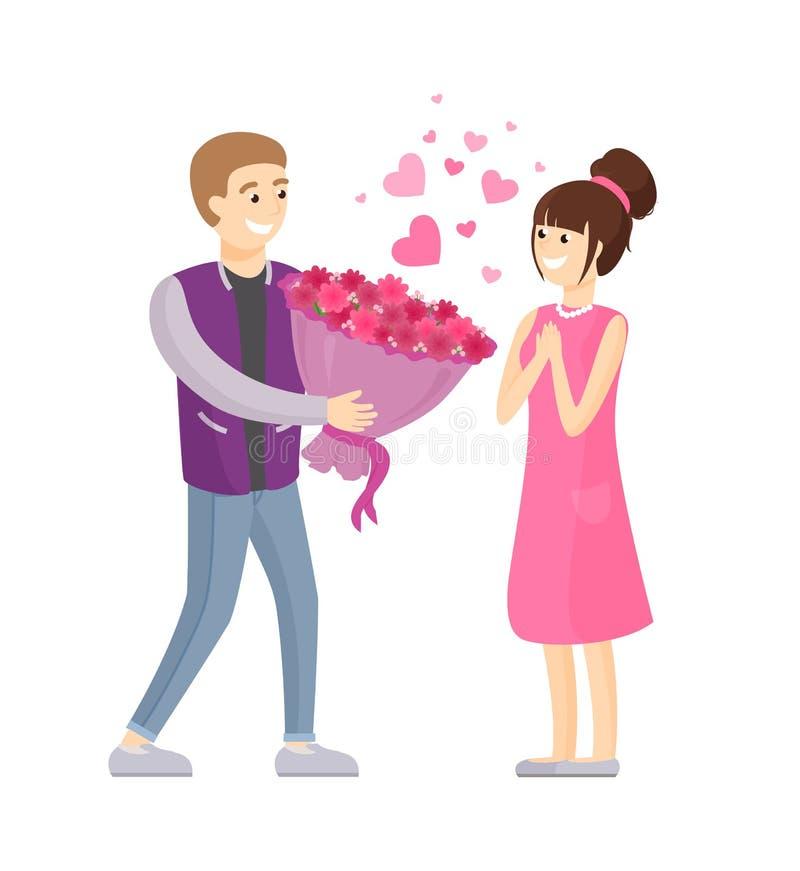 Homem que apresenta o ramalhete luxuoso das flores à mulher ilustração do vetor