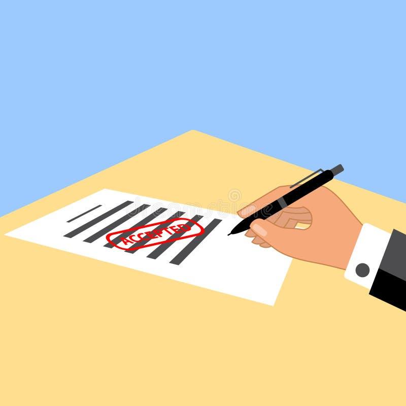 Homem que assina o documento com selo aceitado nele ilustração royalty free