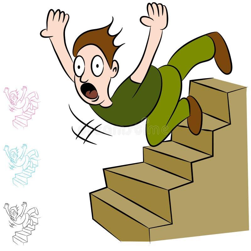Homem que cai para baixo vôo de escadas ilustração do vetor