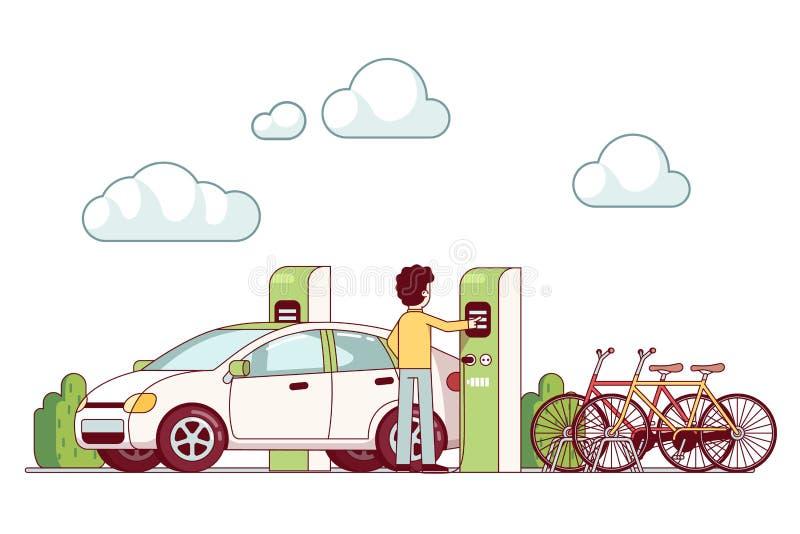 Homem que carrega o carro bonde na central elétrica ilustração royalty free
