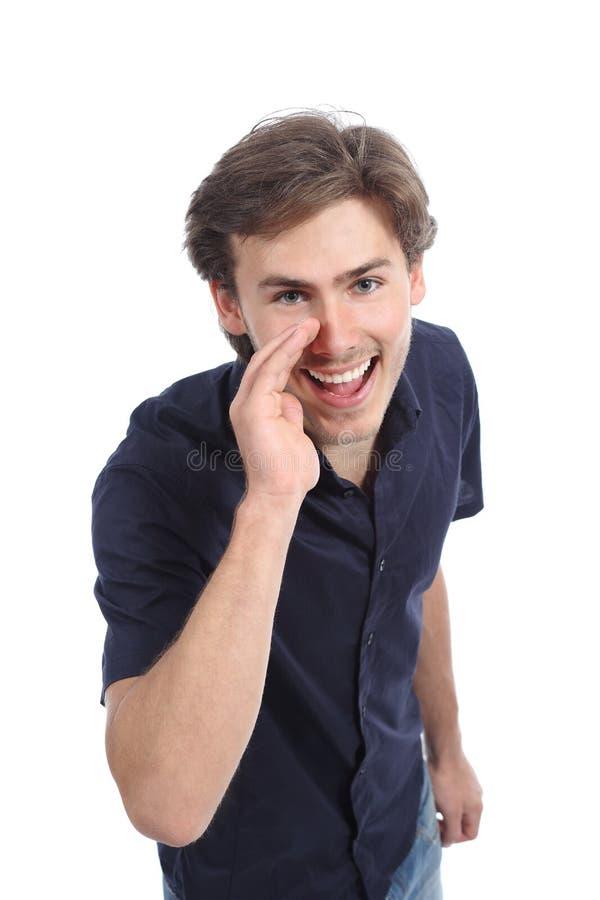 Homem que chama com a mão na boca imagens de stock royalty free
