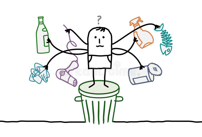 Homem que classifica o lixo ilustração royalty free