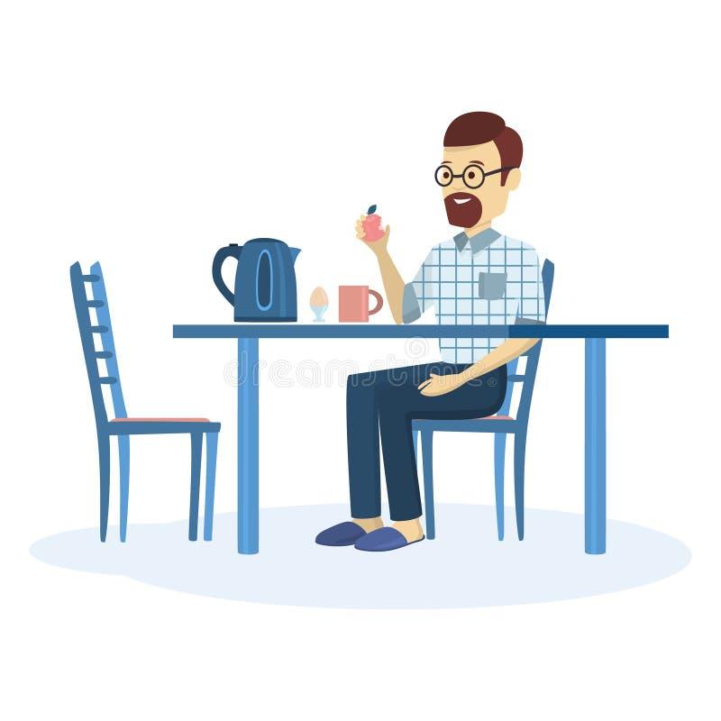 Homem que come o pequeno almoço ilustração do vetor