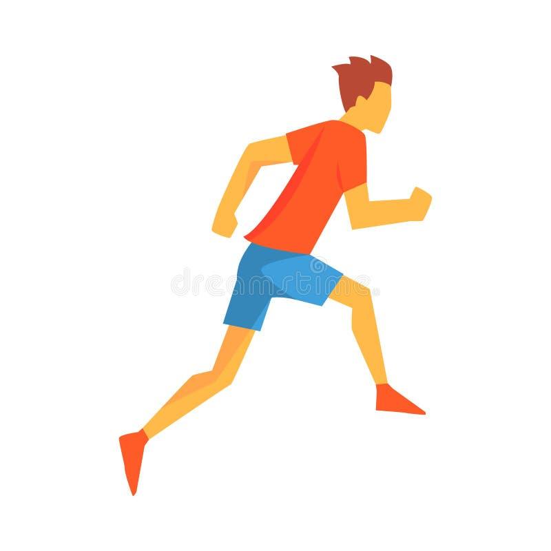 Homem que compete com obstáculos, desportista masculino que corre a trilha na parte superior vermelha e curto azul em competir a  ilustração royalty free