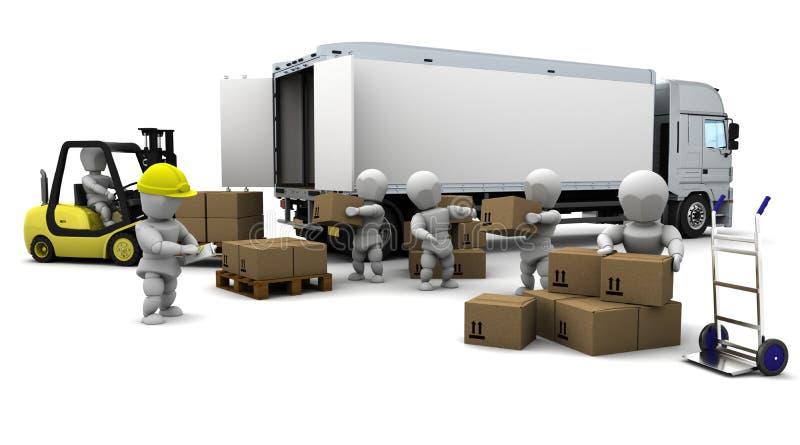 Homem que conduz o caminhão de forklift isolado no branco ilustração stock
