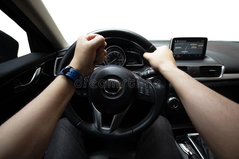 Homem que conduz seu carro, curso, velocidade, frustração fotografia de stock royalty free