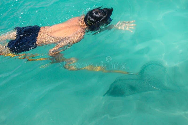 Homem que conduz sob o achado da água e que caça o animal aquático no mar fotografia de stock