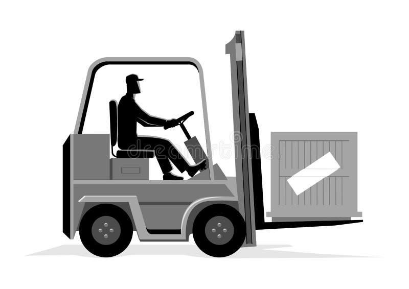 Homem que conduz uma empilhadeira ilustração do vetor