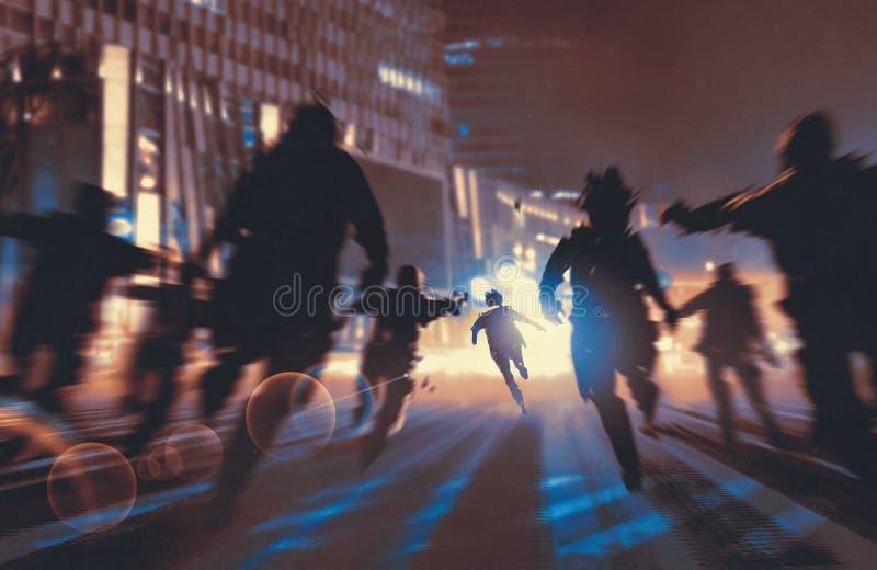 Homem que corre longe dos zombis ilustração stock