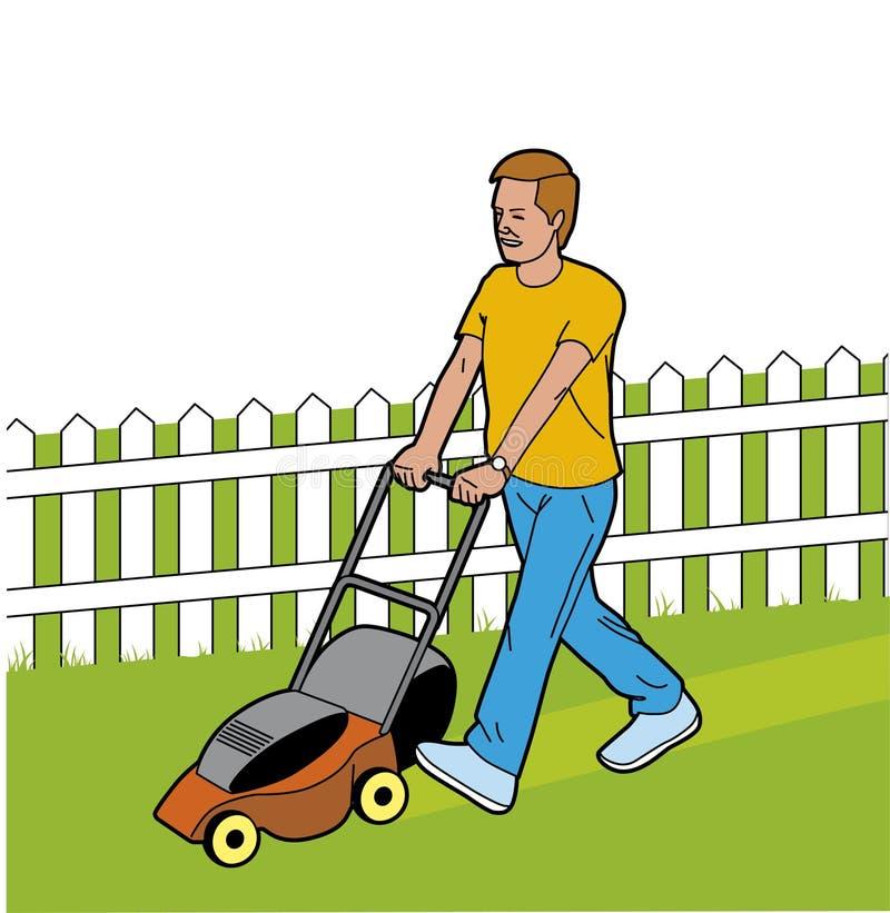 Homem que corta a grama ilustração stock