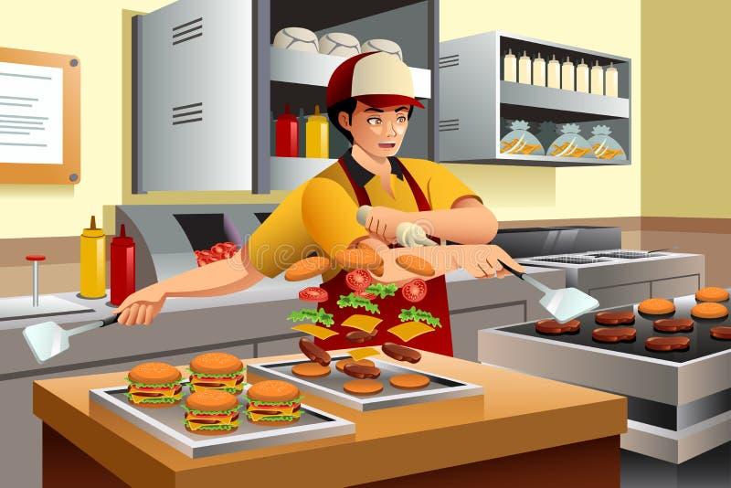 Homem que cozinha hamburgueres ilustração do vetor