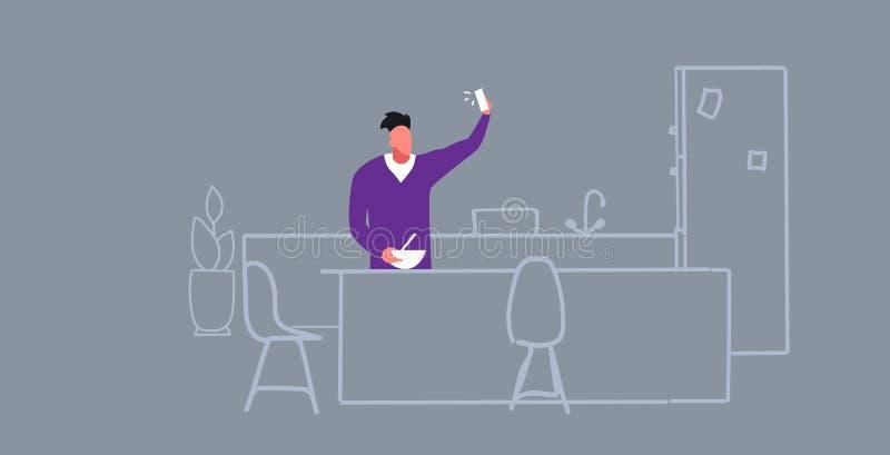 Homem que cozinha o blogger do alimento que usa o telefone que toma o selfie na rede social interior dos meios da cozinha moderna ilustração do vetor
