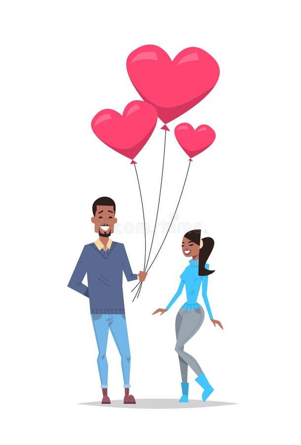 Homem que dá a balões de ar da forma do coração do rosa da mulher o conceito feliz do feriado do dia de Valentim pares afro-ameri ilustração do vetor