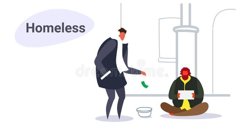 Homem que dá o dinheiro ao indivíduo pobre que senta-se na rua que implora pela garatuja desabrigada do esboço do conceito da pla ilustração do vetor