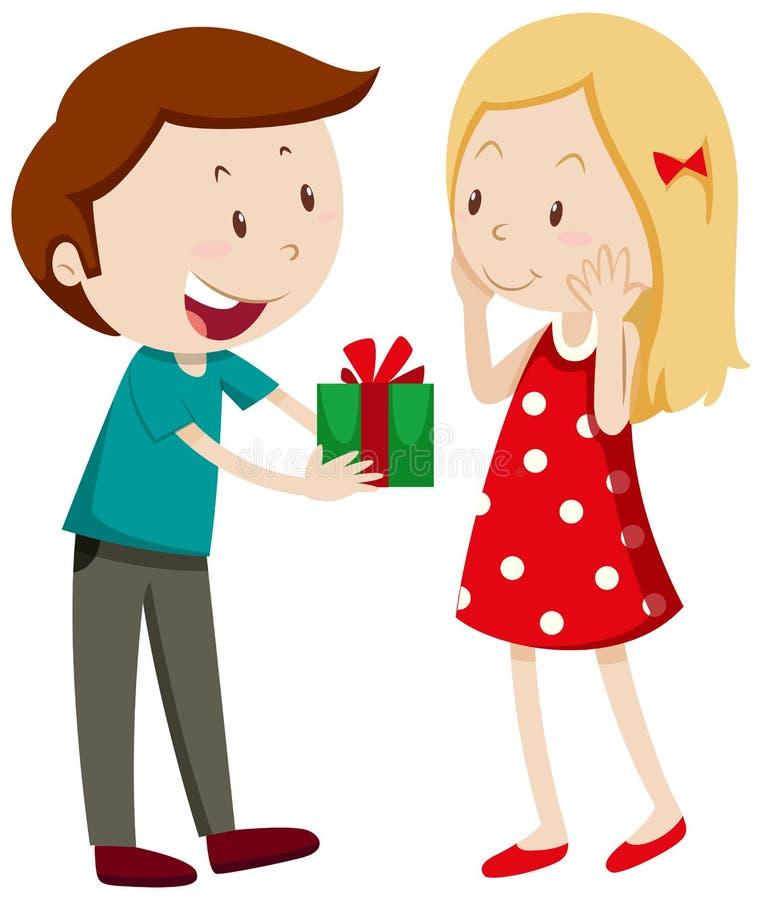 Homem que dá o presente à amiga ilustração do vetor