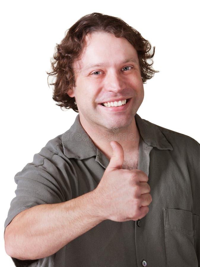 Homem que dá os polegares acima foto de stock