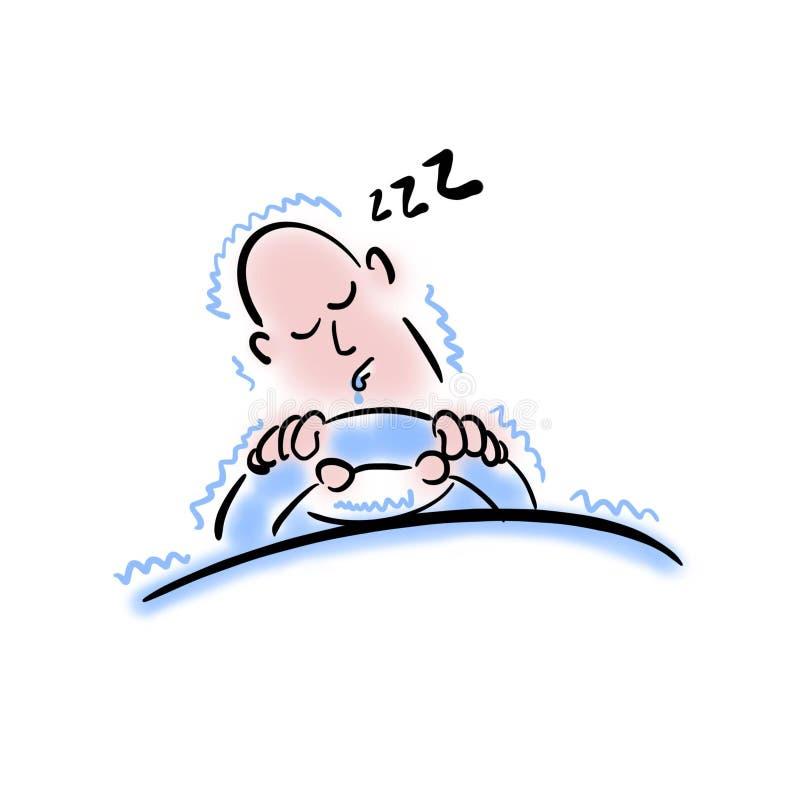 Homem que dorme atrás da roda ilustração do vetor