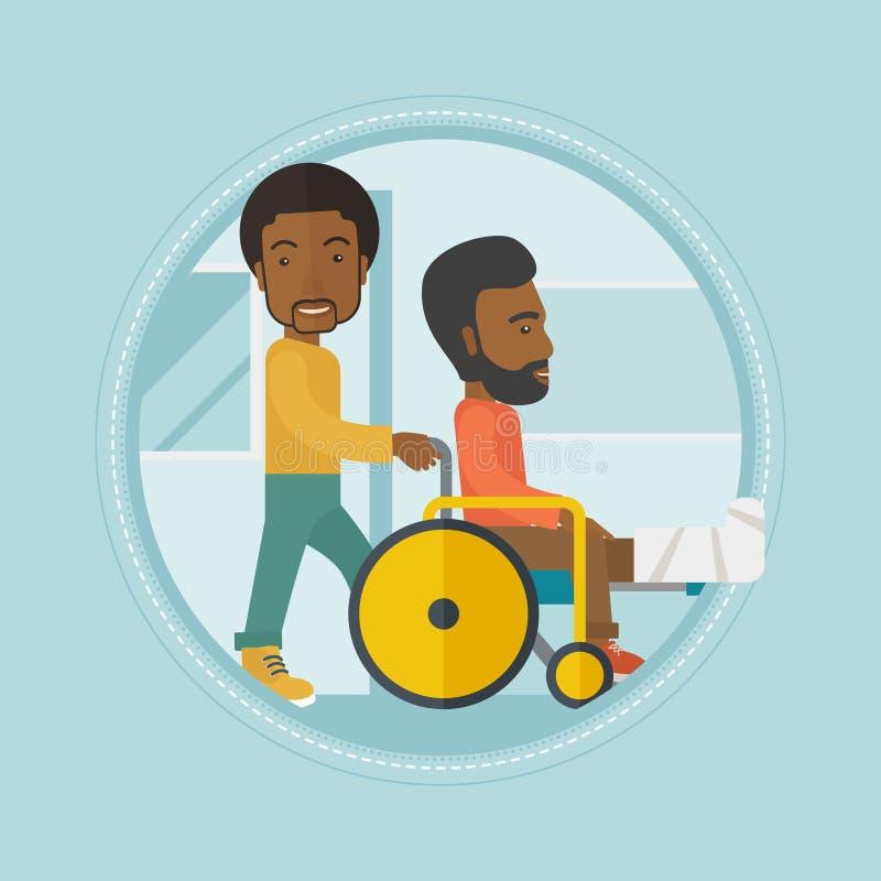 Homem que empurra a cadeira de rodas com paciente ilustração stock