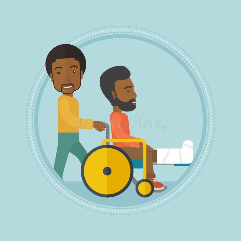 Homem que empurra a cadeira de rodas com paciente ilustração royalty free