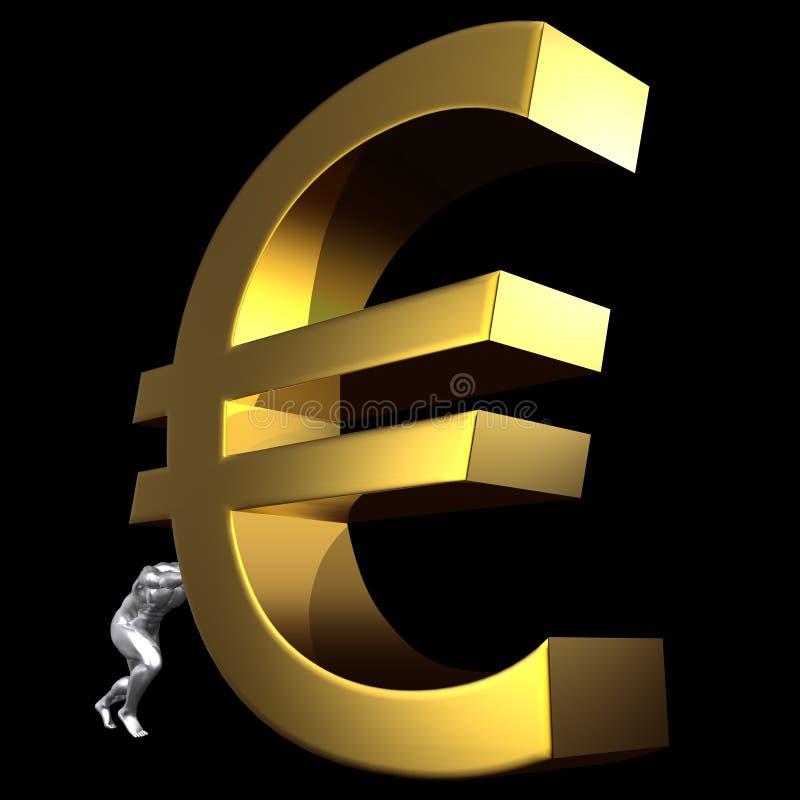 Homem que empurra o euro- sinal ilustração stock
