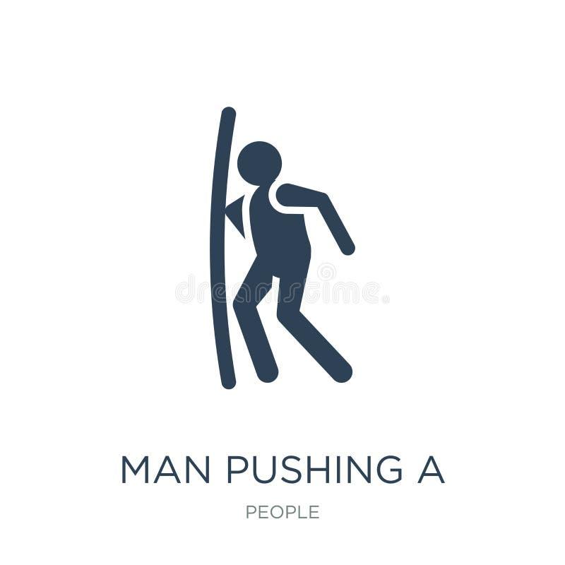 homem que empurra uma porta com seu ícone do corpo no estilo na moda do projeto homem que empurra uma porta com seu ícone do corp ilustração royalty free
