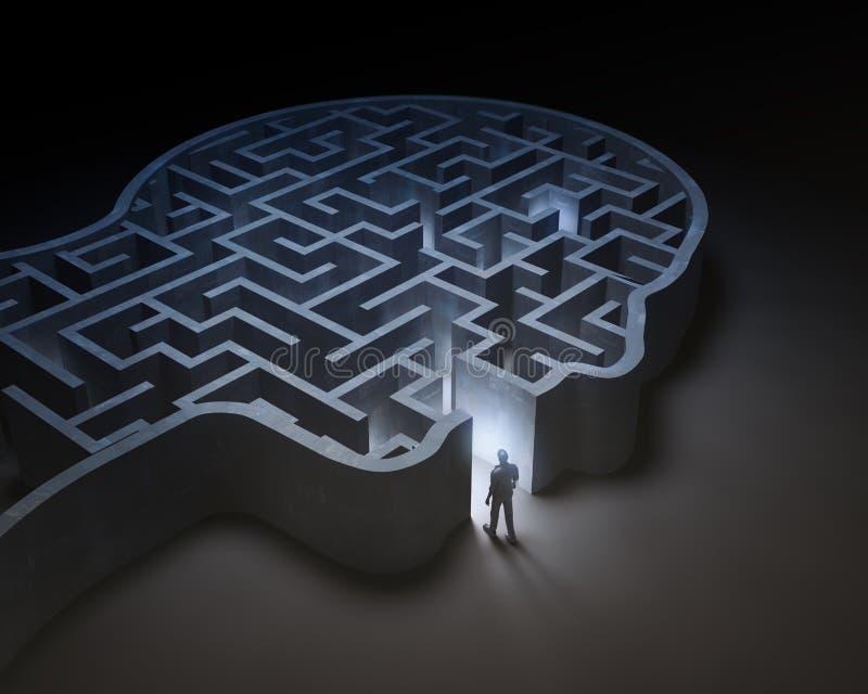 Homem que entra em um labirinto dentro de uma cabeça ilustração do vetor