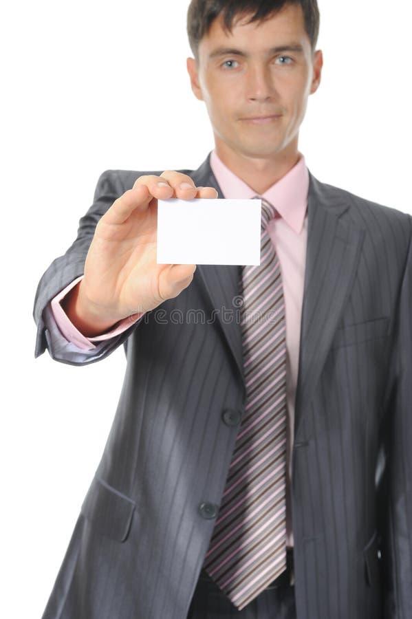 Homem que entrega um espaço em branco imagens de stock