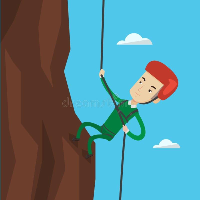 Homem que escala nas montanhas com corda ilustração royalty free