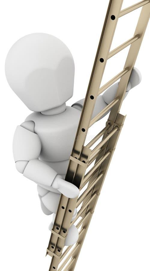 Homem que escala uma escada para conseguir o sucesso ilustração do vetor