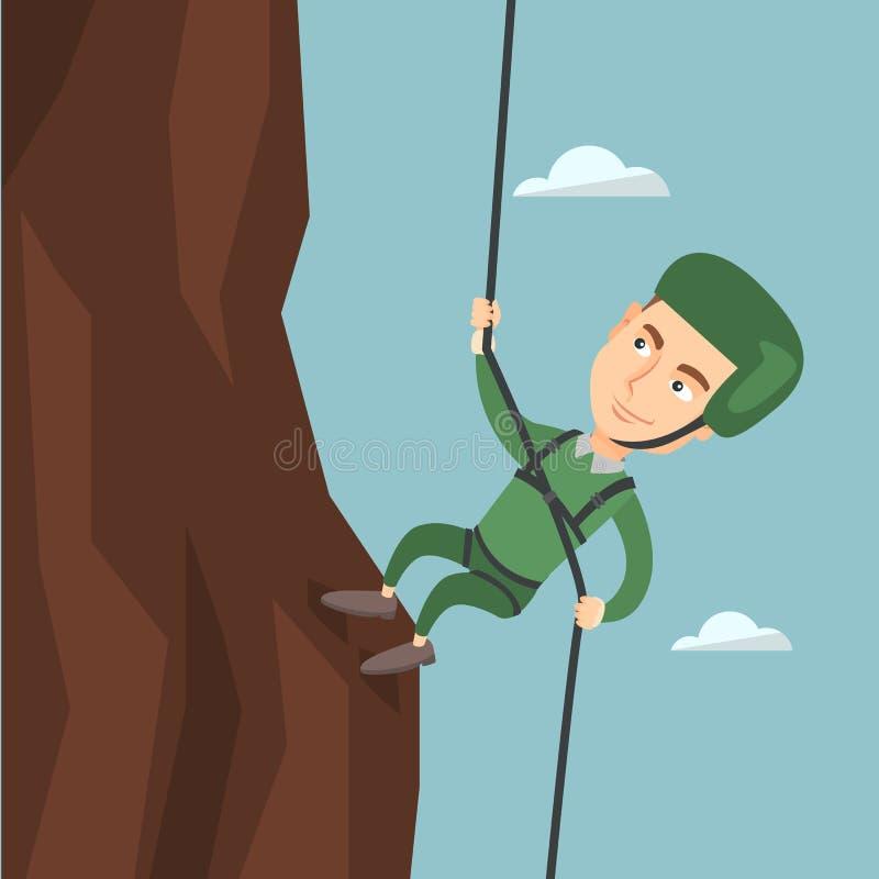 Homem que escala uma montanha com uma corda ilustração stock