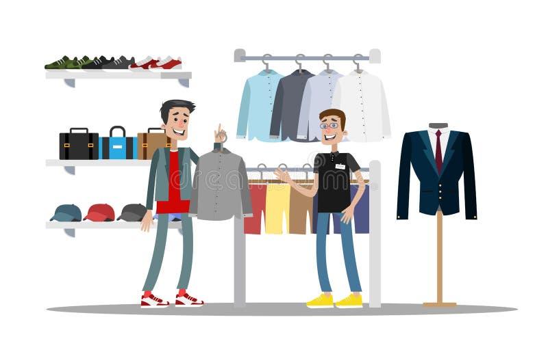Homem que escolhe a roupa na loja de roupa ilustração do vetor