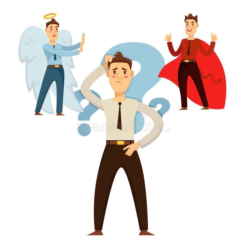 Homem que escolhe seu comportamento, sendo boa ou decisão má ilustração stock