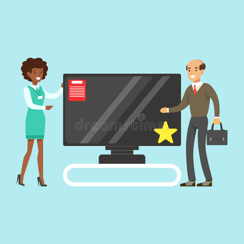 Homem que escolhe a tevê com ajuda do assistente de loja na ilustração colorida do vetor da loja de dispositivo ilustração royalty free