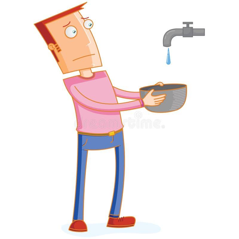 Homem que espera uma gota da ?gua de um torneira ilustração stock